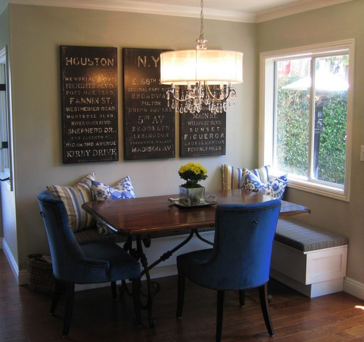 Contemporary Dining Room A Pair Of Blue French Dining Chairs Dark Hardwood  Dining Table With Black Wrought Iron Base Corner Seating Benches With Under  ...