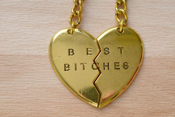 Best Bitches Keyring  Gold Split Heart Keychain  Set Of 2