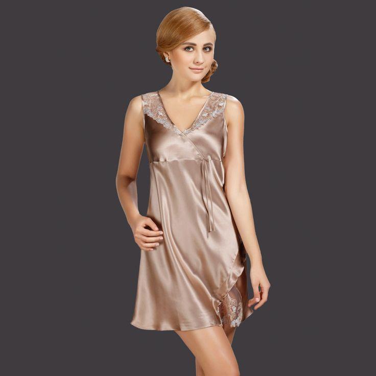 The new Seoul Arts silk pajamas silk nightgown female summer 100% silk sleeveless silk pajamas sexy nightgown USD$60.20