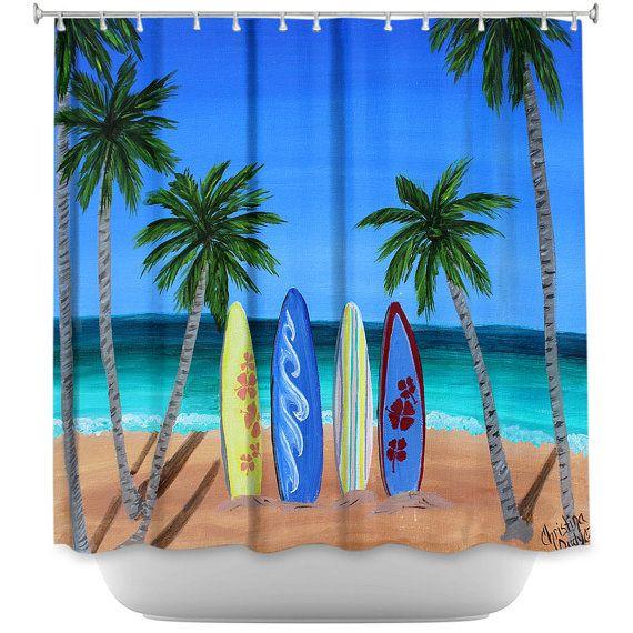 Surfboard Shower Curtain for bathroom, Surf Decor for bathroom, palm tree bath, caribbean theme bathroom on Etsy, $89.99