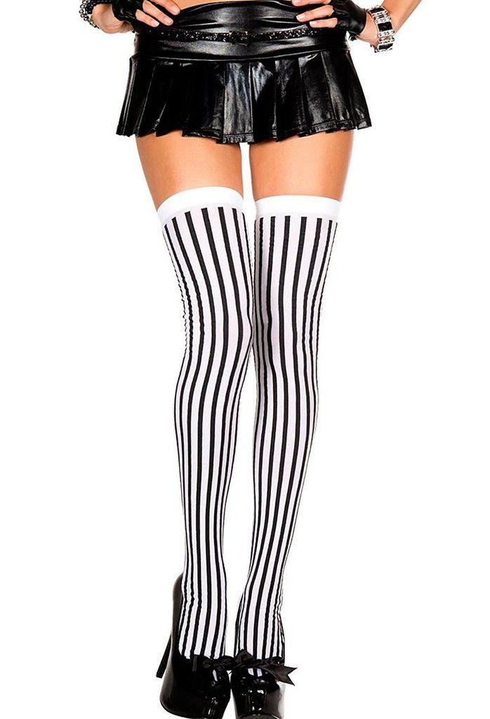 Music Legs Women s Black and White Stripe Thigh High Stockings in ... 857457ec5