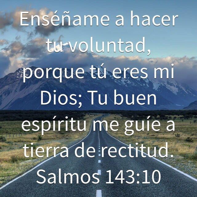 Enséñame a hacer tu voluntad, porque tú eres mi Dios; Tu buen espíritu me guíe a tierra de rectitud. (Salmos 143:10 RVR1960)