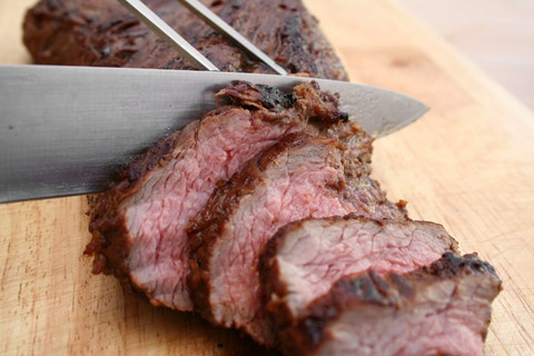 Hoisin marinated tri tip~I tried it w/ pork tenderloin~YUM! Used red pepper flakes instead of black pepper and added some sesame oil..