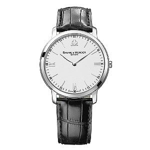 Baume & Mercier perfectly capture luxury design with this sophisticated croc effect black leather strap watch. Styled with a classic round  dial, delivering smart styling for the modern man.