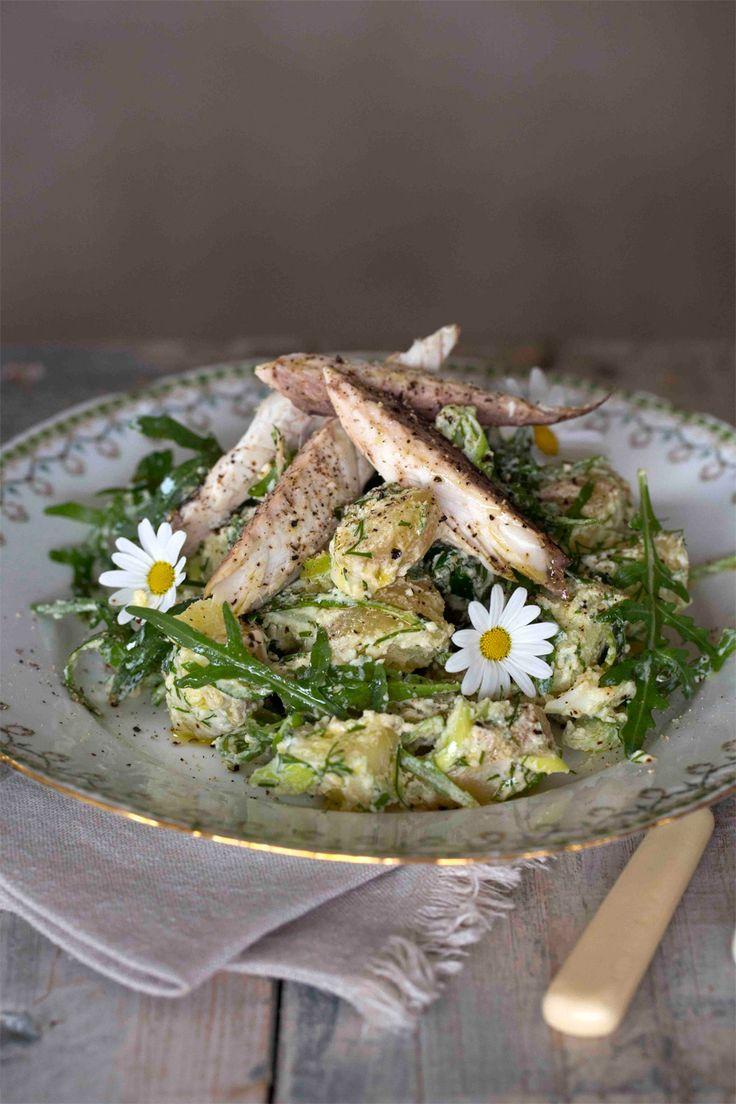 Nypotetsalat med makrell er en rett som virkelig smaker sommer! Fra matlbloggen Borte Borte Hjemme #fisk #oppskrift #middag