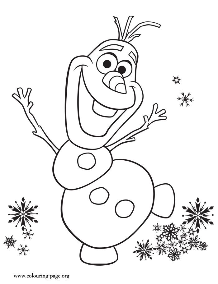 frozen fever olaf excited with birthday party coloring page