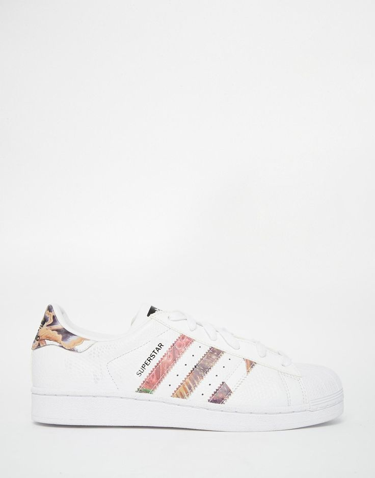 Image 1 of adidas Originals White Superstar With Floral Trim Trainers