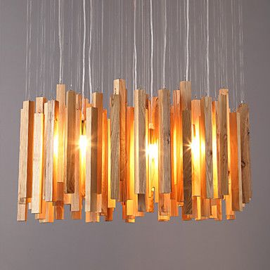 Lighting Designer Creative Arts Personality Minimalist Living Room Dining Wooden Lamp Wood Icicle Chandeliers – USD $ 382.99