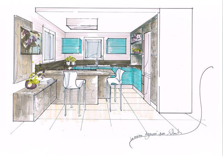 Projet Cuisine La Maison Agencée Par Silvent #Cuisine#Kitchen#Design#Vert d'eau & Chêne alpin grisée