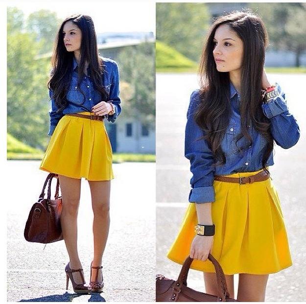 Camisa jean y falda mostaza