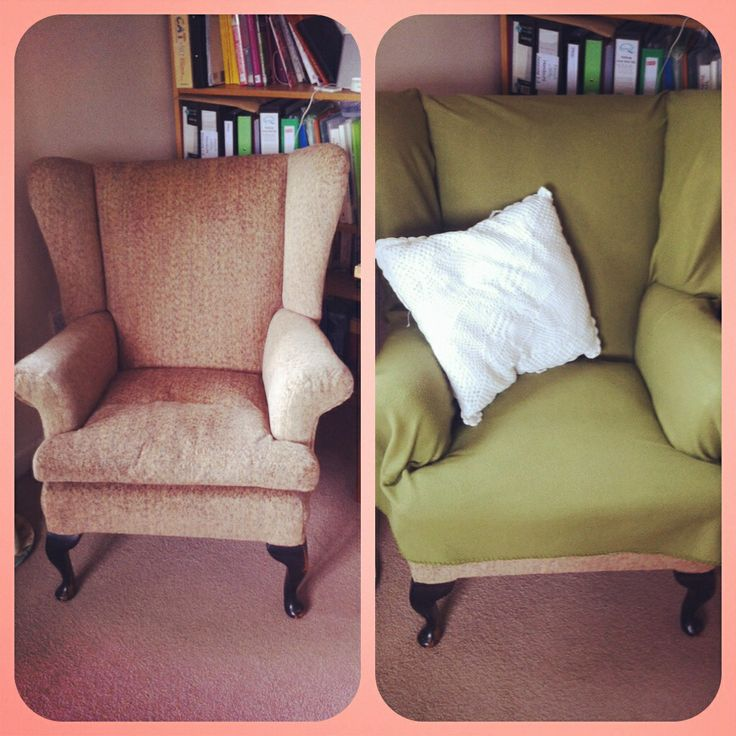 Freebie wing backed armchair. Old lady reupholstered it herself so no fire labels. Shame to destroy her handy work.