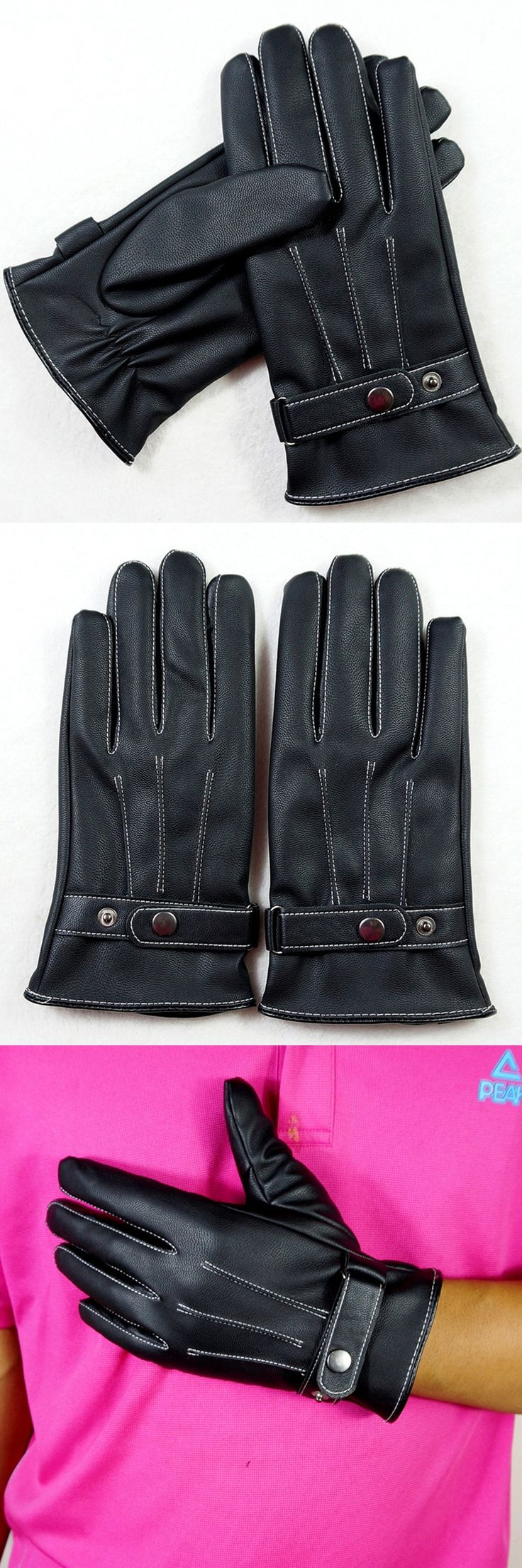 Delicate Men Leather Winter Gloves Soft Warm Mitten 360 Degree Full Palm Touch Gloves Sheepskin Gloves PU Washed Leather Glove