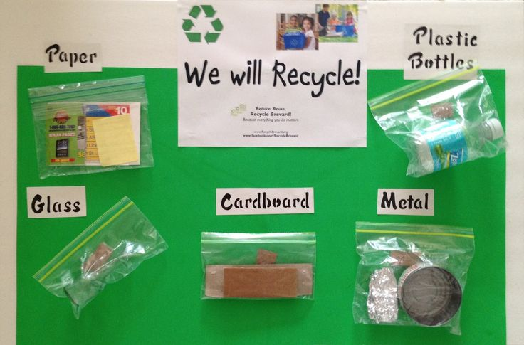 Informational bulletin board - just add projects made from each mentioned recycled type