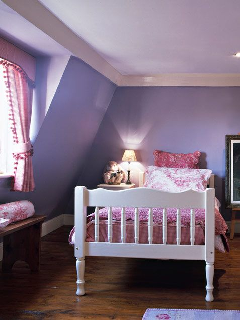 Playful child's room. Love the 2 shades of purple on walls and ceiling.