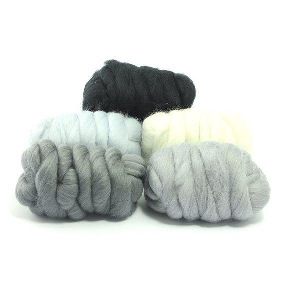 Hazy Grey  5 Colours  Dyed Merino Wool Tops  by WorldOfWoolShop