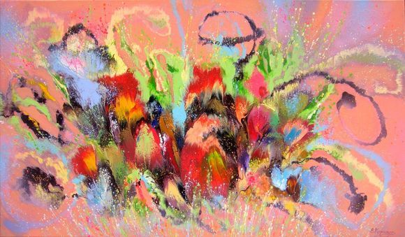 Colorful Flowers, Abstract LARGE Painting on canvas