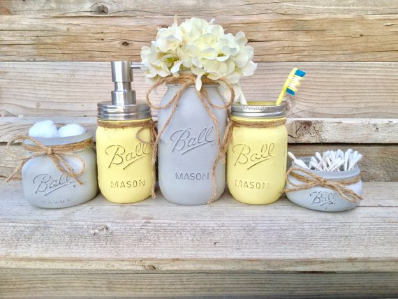 Yellow and Grey Bathroom Decor, Yellow and Gray Mason Jar Bath Set,Yellow and Grey Bathroom,  Yellow and Grey,Yellow and Grey Bathroom Decor