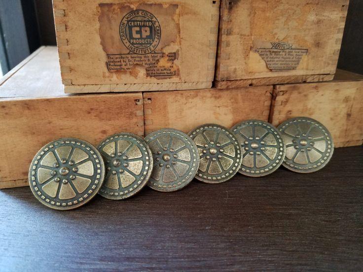 Set Of 6 Round Retro Brass Vintage Furniture Pulls Or Knobs. Vintage  Hardware, Cabinet