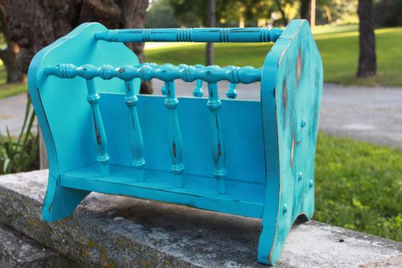 Wooden Turquoise Magazine Rack - 2 Sections - XL - Shabby Chic Distressed Finish - Farmhouse Chic - Boho Beach Funky Home Decor - Organizer