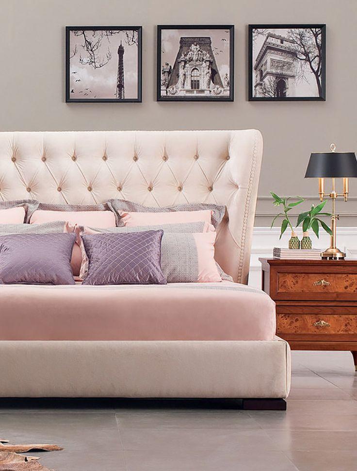 Розовая мягкая кровать со стяжкой капитоне на изголовье. Pink soft headboard bed with kapitone mebelok.com/soft-beds/