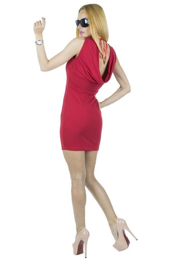 Rochie Dama Bella  Rochie dama confectionata din material elastic ce se muleaza frumos pe silueta. Design modern, partea din spate usor drapata ii confera un plus de senzualitate.     Latime talie: 35cm  Lungime: 84cm  Compozitie: 90%Poliester, 10%Elasten