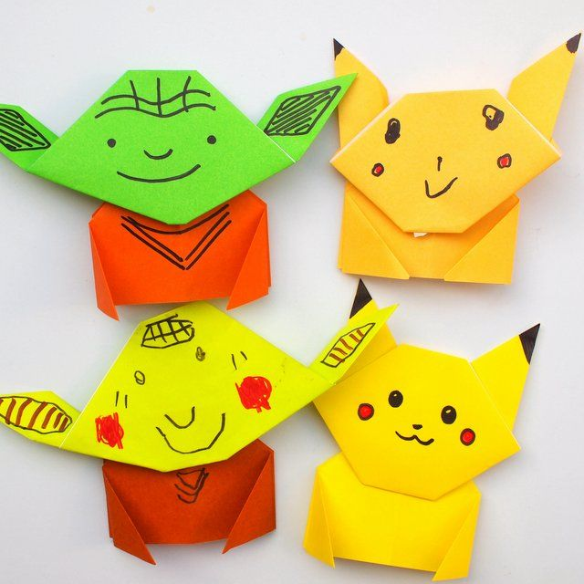 Instruction showing how to fold a super easy origami Yoda and Pikachu Tutorial- Great kids craft for all ages