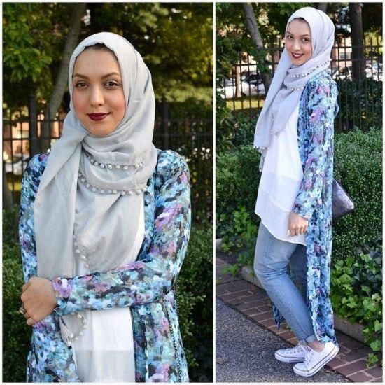 long kimono cardigan hijab outfit, Stylish hijab looks by Hani Hulu http://www.justtrendygirls.com/stylish-hijab-looks-by-hani-hulu/