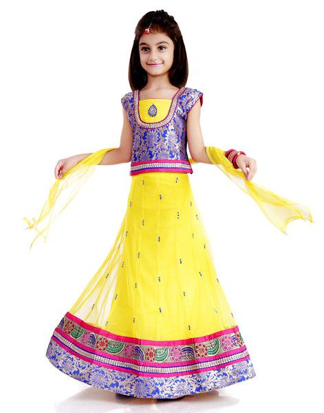 Kids girls Grand gorgeous lehenga  for 2 years to 11 years - Rs 1999 - Free shipping all over Inida - http://www.princenprincess.in/index.php/home/product/138/Yellow%20net%20lehenga%20choli
