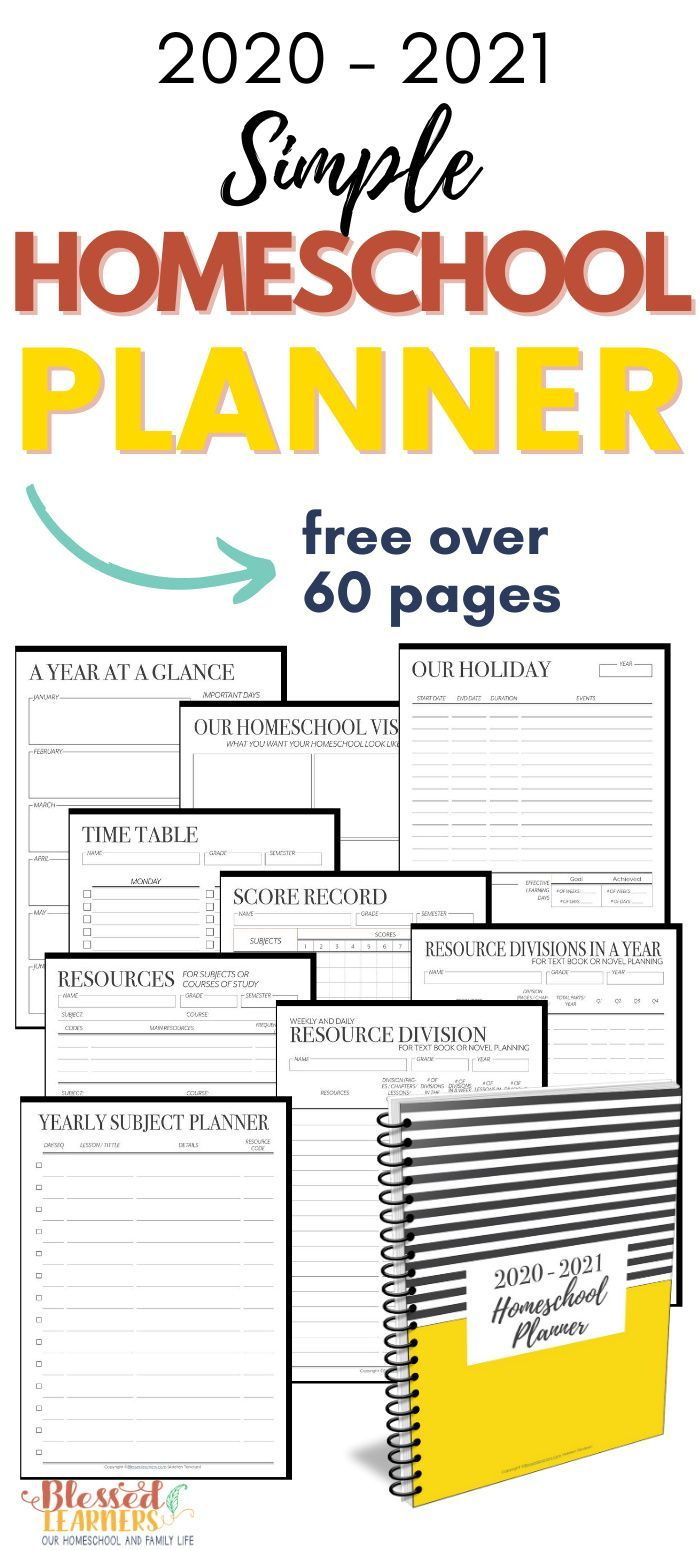 Free Homeschool Planner 20202021 in 2020 Homeschool