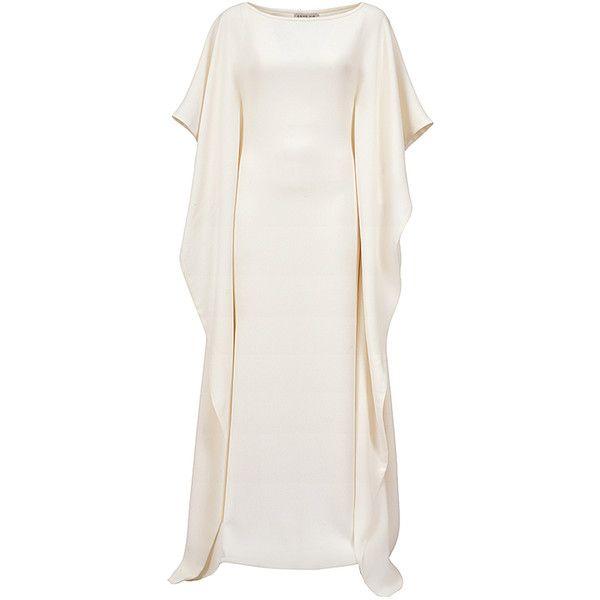 Esme Vie     Manta Kaftan ($2,150) ❤ liked on Polyvore featuring tops, tunics, white, round neck top, white kaftan, kaftan tops, elbow length sleeve tops and white tunic