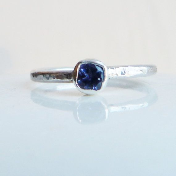 Sterling Silver Iolite Solitaire Stacking Ring.  Silver Ring.