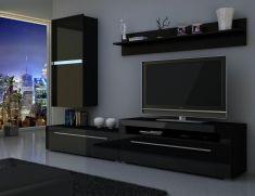 obývací stěna BONY - komplet černý mat / černý lesk