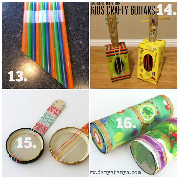DIY Recycled Play Ideas - Make your own musical instruments using recycled materials. See them all at Mummy Musings and Mayhem!