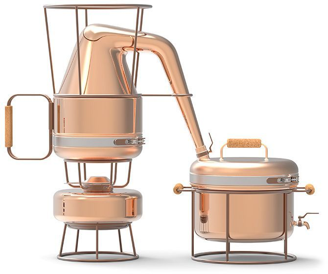 Designed by Francesco Morackini, the Prohibition kit is composed of four perfectly legal objects: a watering can, a fondue stove, a cooking pot, and a fruit bowl. But once combined together, they create a still to produce your own homemade schnaps.