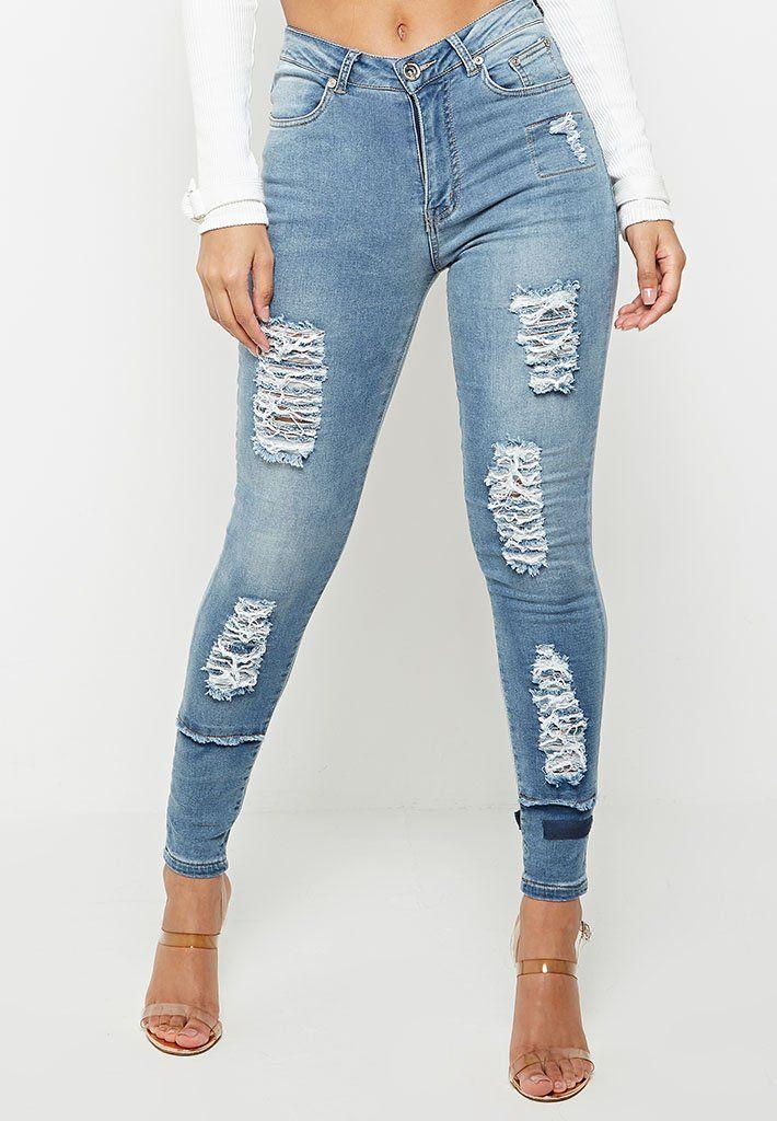 Maniere De Voir High Waisted Distressed Jeans Distressed Jeans Women Jeans