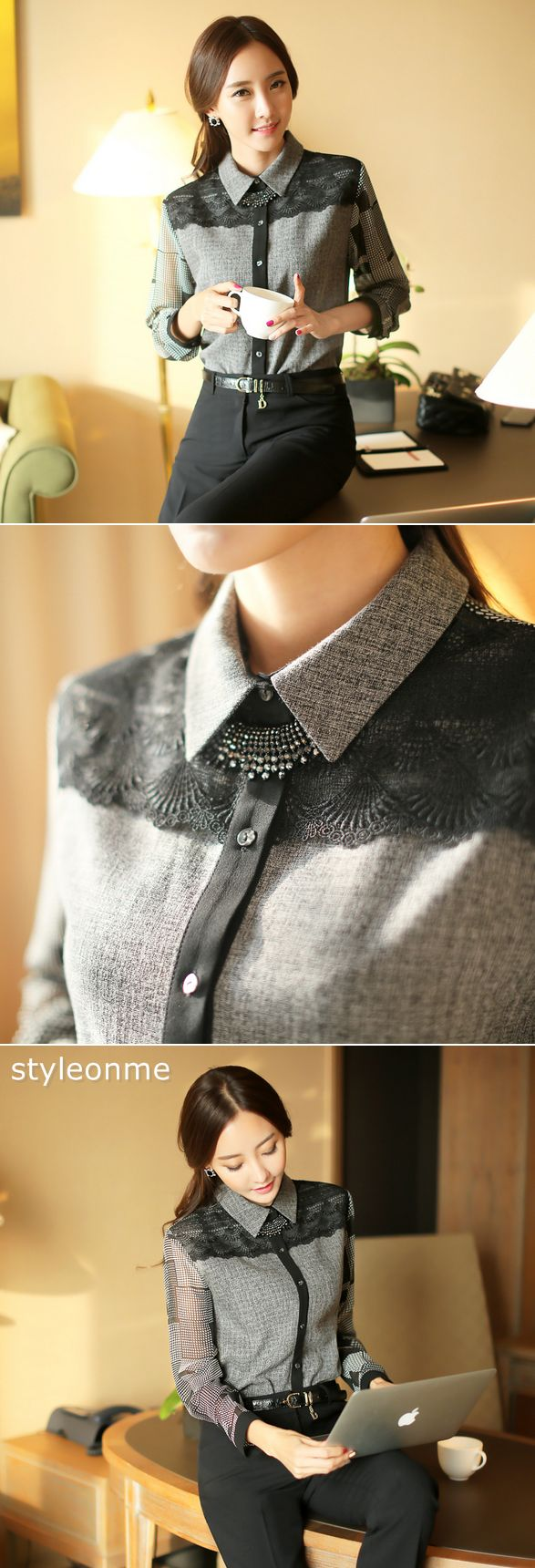 Lace Yoke Chiffon Sleeve Blouse // #StyleOnMe #KoreanFashion #WomenFashion…