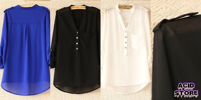 Camisa suelta sin cuello Color Azul - Negro - Blanco  Talla XS - S - M $ 52.000