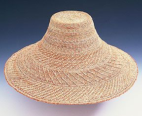 """Lisa Telford : Twined Hat, 2006; red and yellow cedar bark; twined; 6"""" x 14"""". Photo: Jerry McCollum. She uses the bark from both red and yellow cedar trees."""