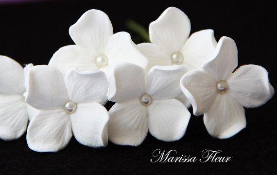 Wedding Hair Pins - 6 Hydrangea Hair Flowers With Pearls, Bridal Hair Accessories, Wedding Hair Accessories