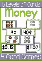 15 Sets of cards comparing values of coins and six coin card games! Change the sets of cards as your students increase in their money skills.