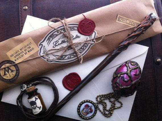 Complete Wizard Kit, Harry Potter inspired, Magic Wand, Hogwarts Letter, House Medallion, Potion Bottle, Dragon Egg. $42.00, via Etsy.