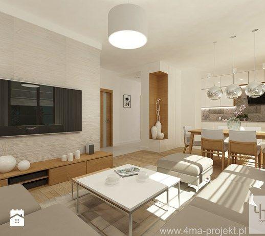 Projekt mieszkania 98 m2 w Wilanowie. - Mały salon z kuchnią z jadalnią, styl nowoczesny - zdjęcie od 4ma projekt