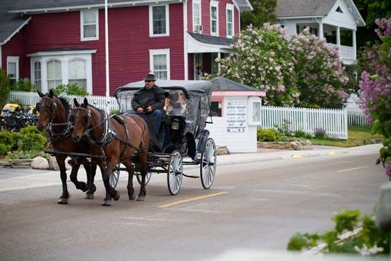 Riding in a horse drawn carriage to their wedding on Mackinac Island, MI (no cars are allowed on the island). So romantic!