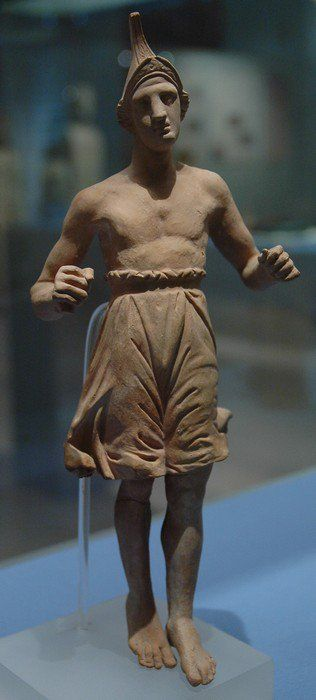 #clay #Figurines - #Boxer or #dancer wearing a phrygian #helmet - #Greek 3rd c. BC at #Archaeological #museum of #Amphipolis #macedonia #greece.