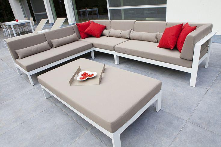 Alu Lounge Set Perla - Hoeksalon met Grote Poef Ice White Mat - Taupe Kussens