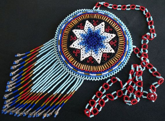 Mexican Huichol Beaded Star Necklace Pouch by Aramara on Etsy