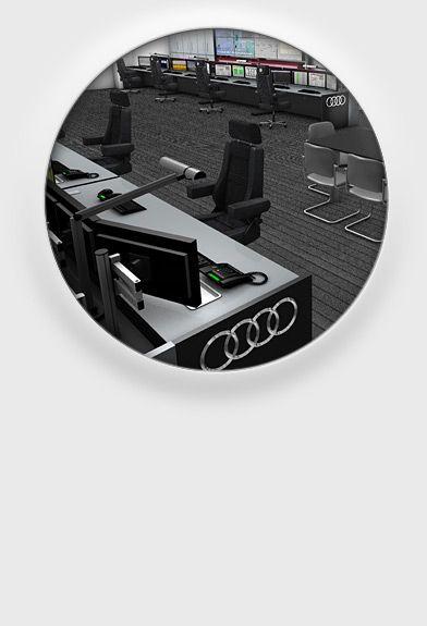 JST Audi  Referenz Kontrollraum Leitstand Großbildwand Videowall Jungmann Systemtechnik Multiconsoling Operator-Desk Operator-Möbel Broßbildtechnik Videowand