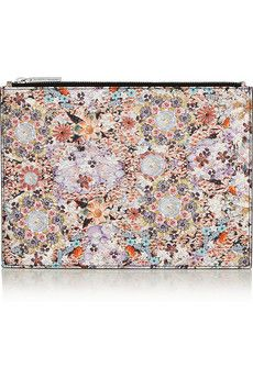 TABITHA SIMMONS Small floral-print textured-leather pouch €275
