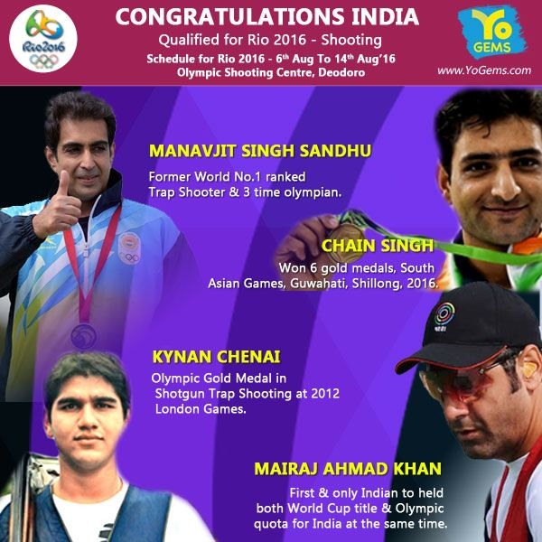 India congratulates Shooters for qualifying for Rio Olympics (Shooting) 2016.