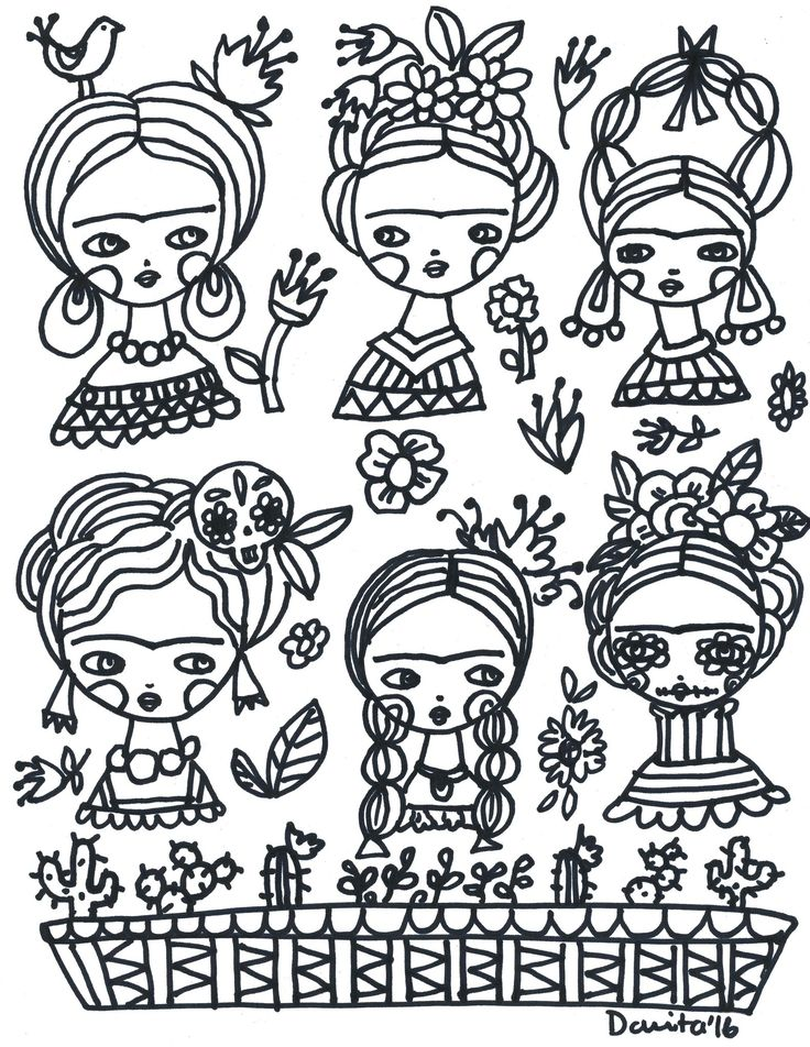 A Frida Kahlo inspired coloring book page, created by international mixed media artist and doll maker, Danita Art